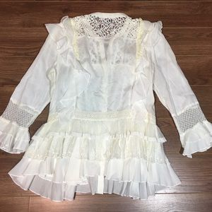French Connection Ruffle Cream Lace Shirt